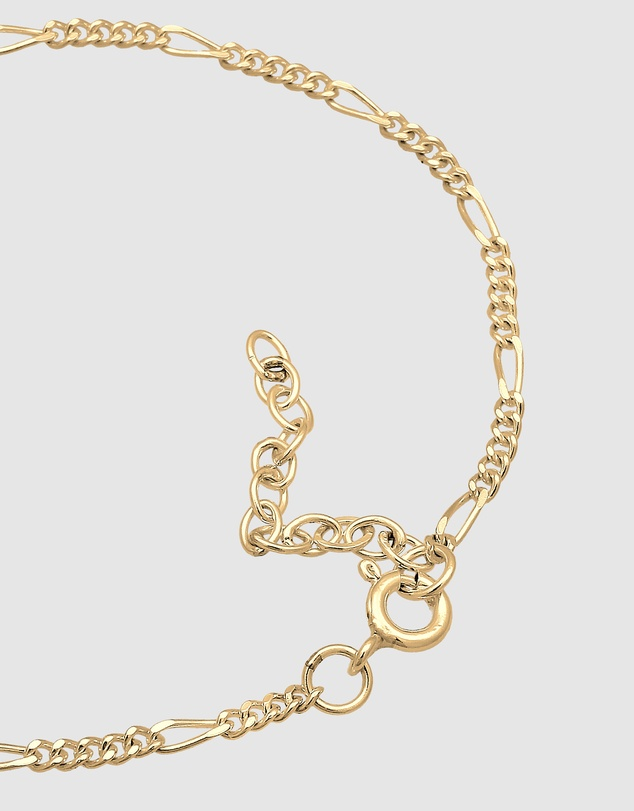Elli Jewelry - Bracelet Blogger Figaro Chain Basic Trend 925 Silver Gold Plated