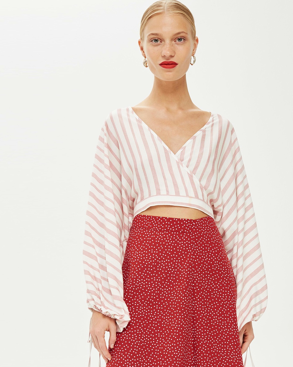 TOPSHOP Stripe Balloon Sleeve Crop Top Cropped tops Blush Stripe Balloon Sleeve Crop Top
