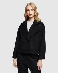 Oxford - Black Biker Wool Blend Jacket