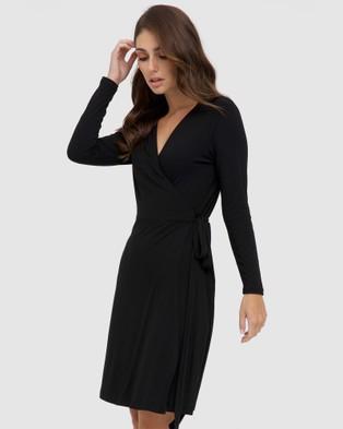 Bamboo Body Long Sleeve Wrap Dress - Dresses (Black)