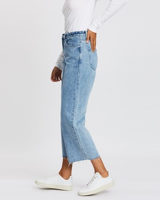 Assembly Label High Waist Flare Jeans - Crop (Stone Blue)