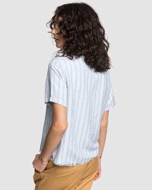 Quiksilver Quiksilver Womens Stripe Short Sleeve Linen Camp Shirt - Casual shirts (ZEN BLUE LINEN STRIP)