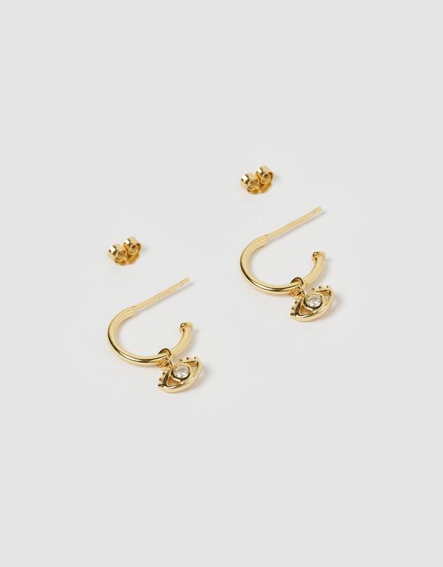 Women May Evil Eye Mini Hoop Earrings