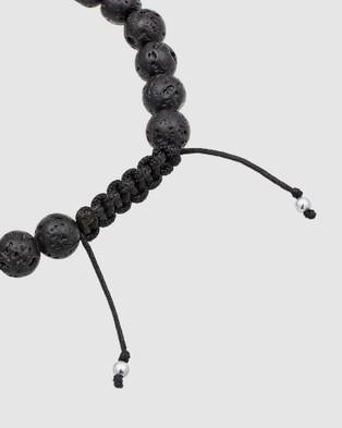 Kuzzoi Bracelet Basic Lava Stone Cross Ethno 925 Silver - Watches (black)