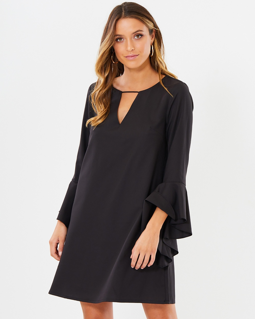 Calli Dillion V Detail Dress Dresses Black Dillion V Detail Dress
