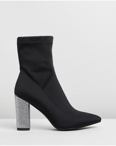 Loreta Crystal Skin Tight Boots Black