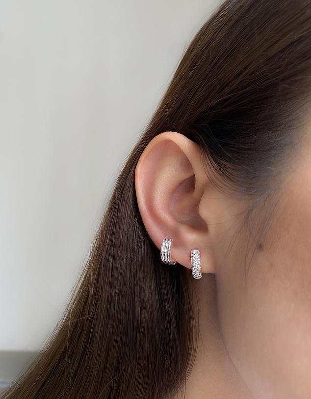 Women Classic Pave Silver 8mm Baby Huggie Earrings