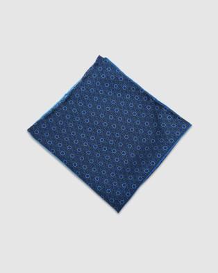 Oxford Retro Multi Design Pocket Square - Pocket Squares (Blue)