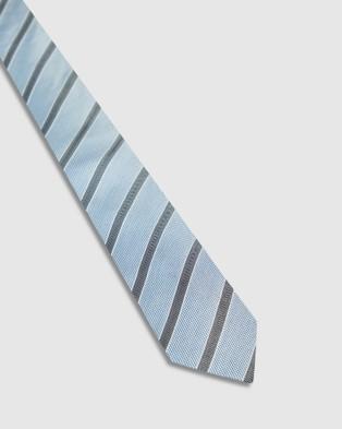 Oxford Silk Hopsack Stripe Tie - Ties (Blue)
