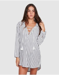 Roxy - Womens Lonely For You Oversized Short Sleeve Shirt Dress