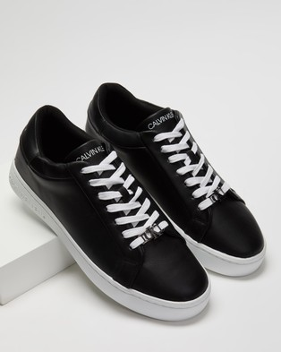 Calvin Klein Jeans - Cupsole Leather Lace Up Sneakers (Black)