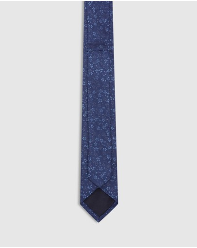 Oxford Mini Floral Silk Skinny Tie Denim