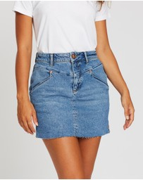 ONETEASPOON - Wash Preacher High-Waist Denim Skirt