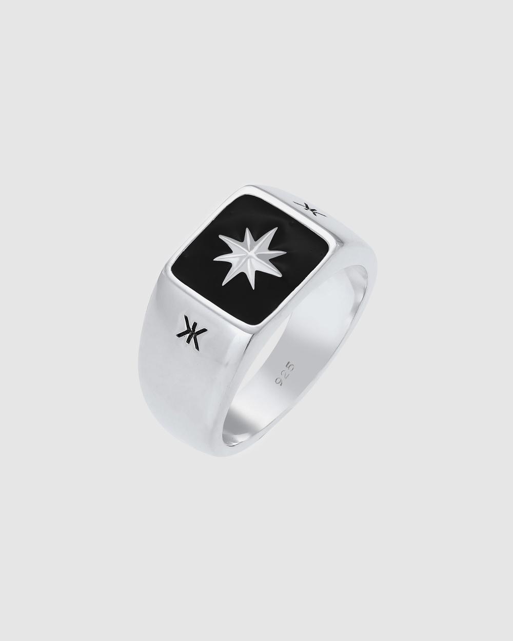Kuzzoi Ring Signet Black Enamel Star Massive in 925 Sterling Silver Jewellery Silver