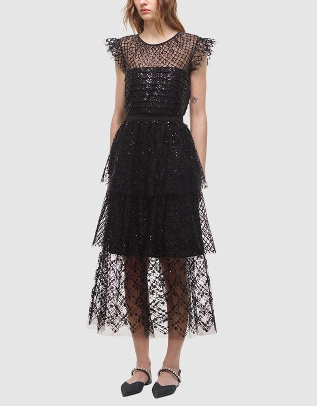Women Grid Sequin Tiered Midi Dress