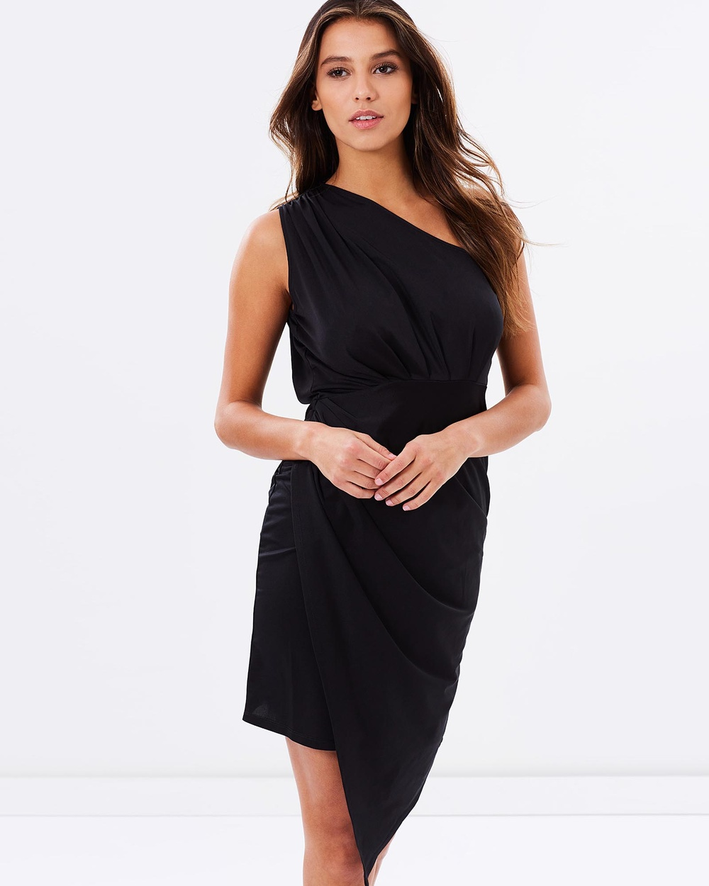 SKIVA One Shoulder Asymmetrical Dress Dresses Black One Shoulder Asymmetrical Dress