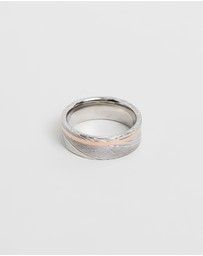 Damascus Steel Ring with Rose Gold Plated Stripe
