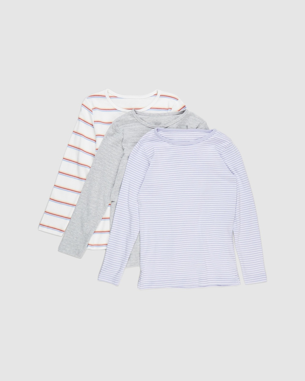 Cotton On Kids - Jessie Crew 3 Pack   Kids Teens - T-Shirts & Singlets (Grey Stripe, Lilac Stripe & Vanilla Rainbow) Jessie Crew 3-Pack - Kids-Teens