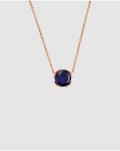 Secret Sisterhood Sapphire Crystal Necklace Dark Blue Rose Gold