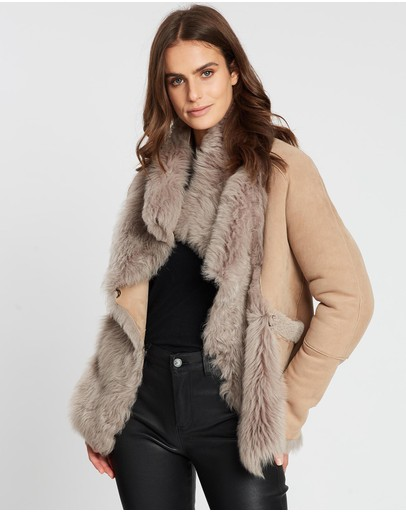 West 14th Spring Street Shearling Coat Taupe