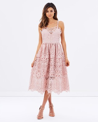 Perseverance – Baroque Guipure Lace Double Strap Midi Dress – Bridesmaid Dresses (Dusty Pink)