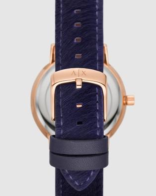 Armani Exchange Purple Leather Three Hand Watch Watches Purple Three-Hand