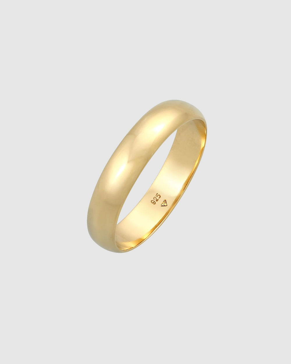 Elli Jewelry Ring Basic Band Casual Look in 925 Sterling Silver Gold Plated Jewellery Gold