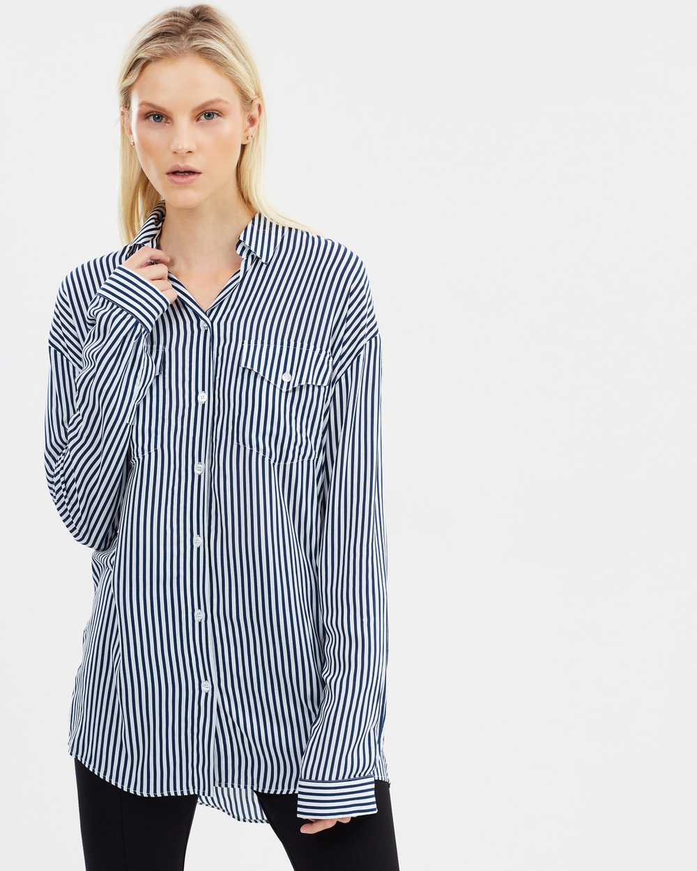 The Kooples Striped James Shirt Tops Navy Striped James Shirt
