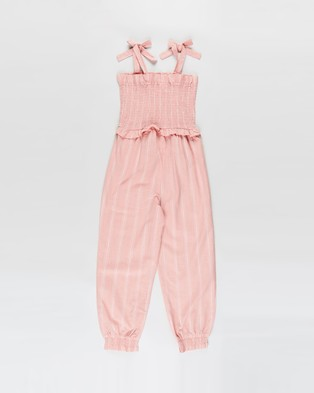 Cotton On Kids Imogen Shirred Jumpsuit   Kids Teens - Sleeveless (Smoked Salmon Stripe)