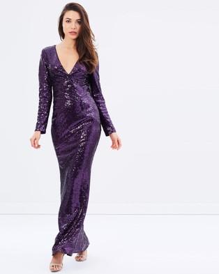 Romance by Honey and Beau – Stella Sequin Long Sleeve Maxi – Dresses (Purple)