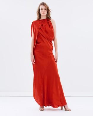 Bianca Spender – Coral Silk Satin Origami Gown