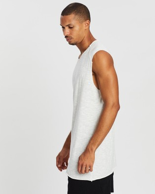 Surrounded By Ghosts The Xenotime Slub Cotton Muscle T Shirt - T-Shirts & Singlets (Texture White)