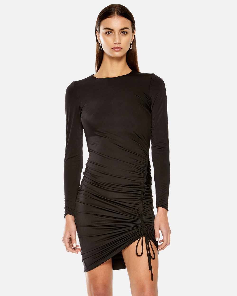 Maniera Black Long Sleeve Drawstring Dress