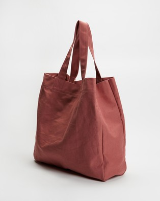AERE Organic Canvas Oversized Tote - Bags (Pink)