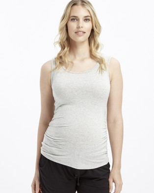 Bamboo Body - Ruched Singlet Maternity Singlets (Grey Marle)