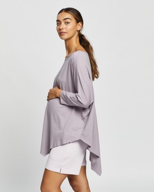 Angel Maternity Oversize Asymmetrical Top Shirts & Polos Lilac