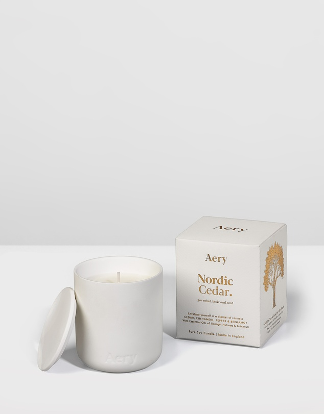 Life Fernweh Matte Ceramic Candle with Lid - Nordic Cedar