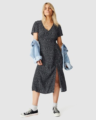 Cotton On Woven Imogen Ruched Midi Dress - Printed Dresses (Robyn Ditsy Black)