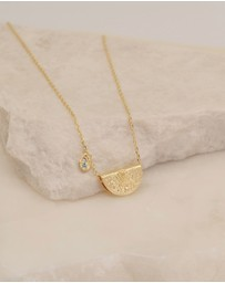 By Charlotte - Calm Your Soul Lotus Birthstone Necklace - March