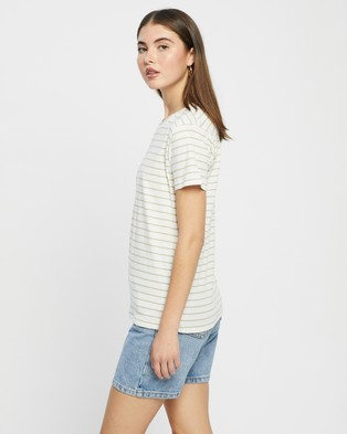 Nude Lucy - Harper Basic Crew Neck Tee - T-Shirts & Singlets (Sage Stripe) Harper Basic Crew Neck Tee