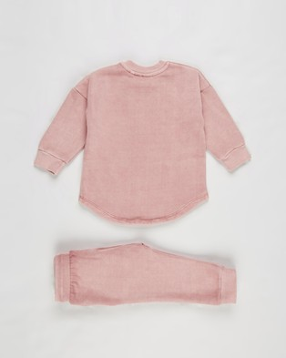 Animal Crackers Clover Crew & Pants Set Babies Sweats Pink