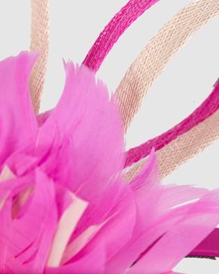 Max Alexander Feather Flower Racing Fascinator - Fascinators (Fuchsia & Blush)