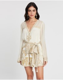 Camilla - Panelled Playsuit with Belt