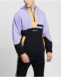 adidas Originals - Adventure Colour Block Mixed Material Half Zip Sweat Hoodie