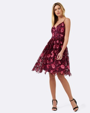 Forever New – Claire Floral Lace Prom Dress Red Mix