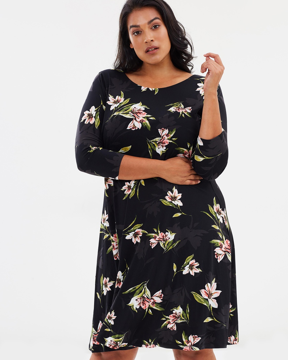 EVANS Tropics Floral Dress Dresses Multi Dark Tropics Floral Dress