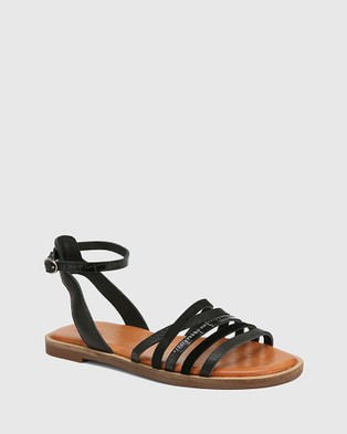 Wittner Cayenne Multi Leather Flat Strappy Sandals - Sandals (Black)