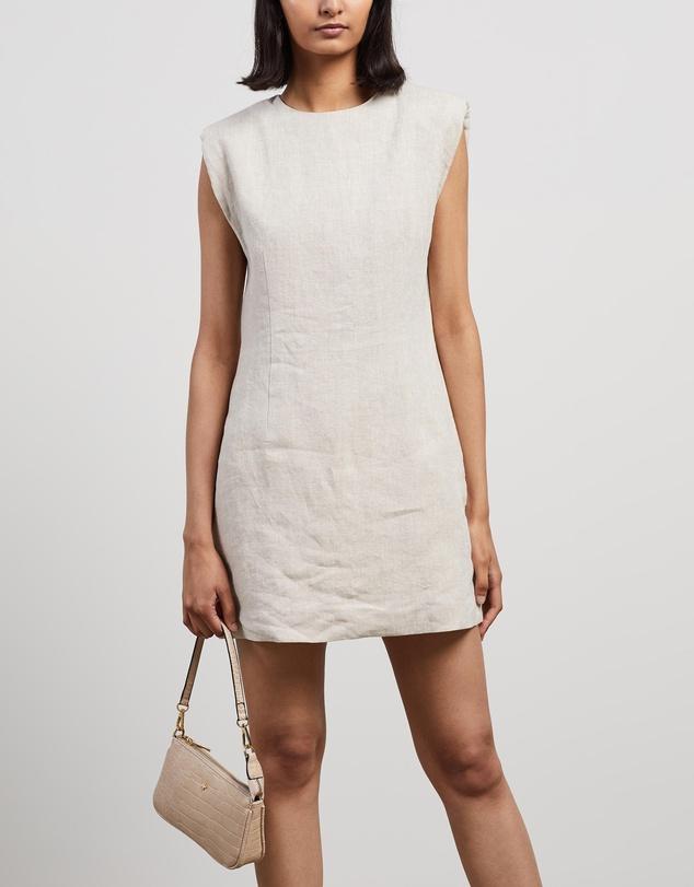 Women Linen Shoulder Pad Dress