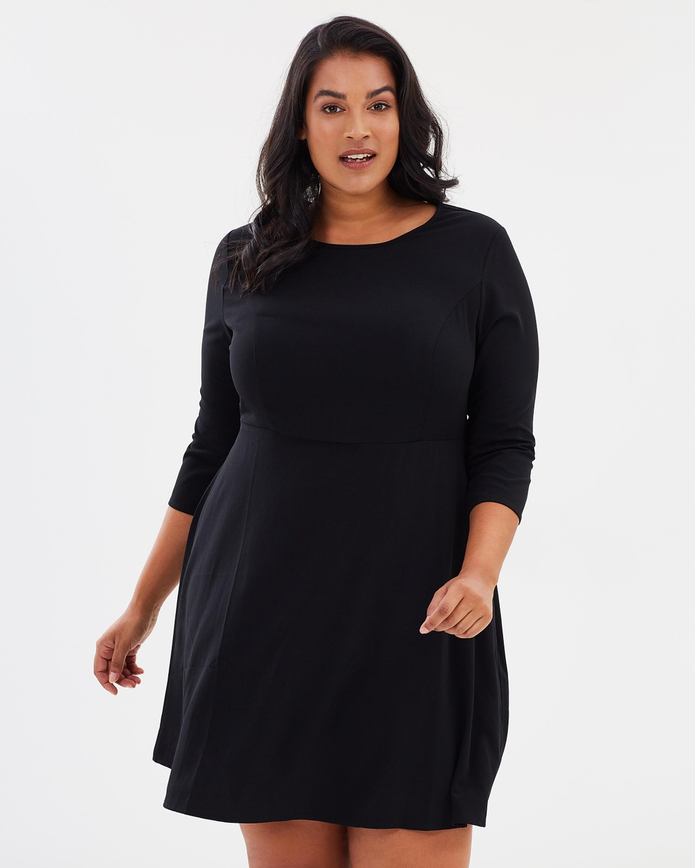 Atmos & Here Curvy ICONIC EXCLUSIVE Michelle Fit & Flare Dress Dresses Black ICONIC EXCLUSIVE Michelle Fit & Flare Dress