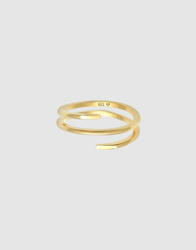 Women Ring Wrap Ring Twist Fine in 925 Sterling Silver Gold Plated
